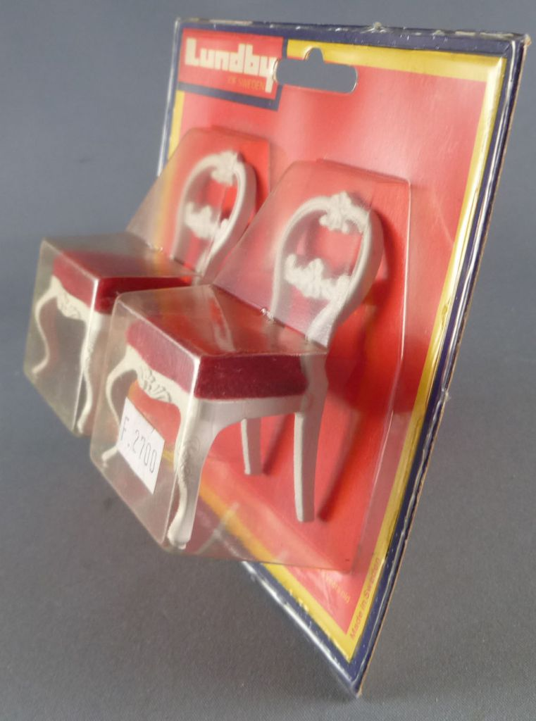 Lundby of Sweden # 4201 - 2 x White Wooden Chairs with Red Fabric Dolls House Furniture Mint on Cerd