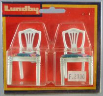 Lundby of Sweden # 4353 - 2 x White Wooden Chairs with Blue Fabric Dolls House Furniture Mint on Cerd