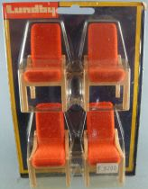 Lundby of Sweden # 4371 - 4 x Wooden Chairs with Orange Fabric Dolls House Furniture Mint on Cerd