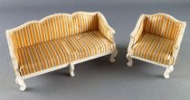 Lundby of Sweden # 4830 4831- Royal Fabric Sofa & Armchair Dolls House Furniture