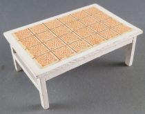 Lundby of Sweden # 5218 - White Coffee Table with oarange Ceramic Dolls House Furniture