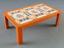 Lundby of Sweden # 5222 - Wooden Coffee Table with Ceramic Dolls House Furniture