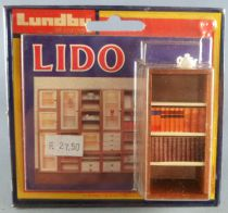 Lundby of Sweden # 5350 - Wooden Library Unit with Books and Ornament Lido Series Dolls House Furniture Mint on Cerd