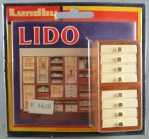 Lundby of Sweden # 5352 - 2 Wooden 5 trays Unit Lido Series Dolls House Furniture Mint on Cerd