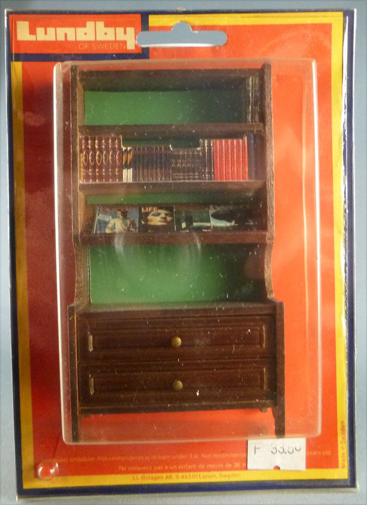 Lundby of Sweden # 5386 - Wooden Library Furniture with Books Dolls House Furniture Mint on Cerd