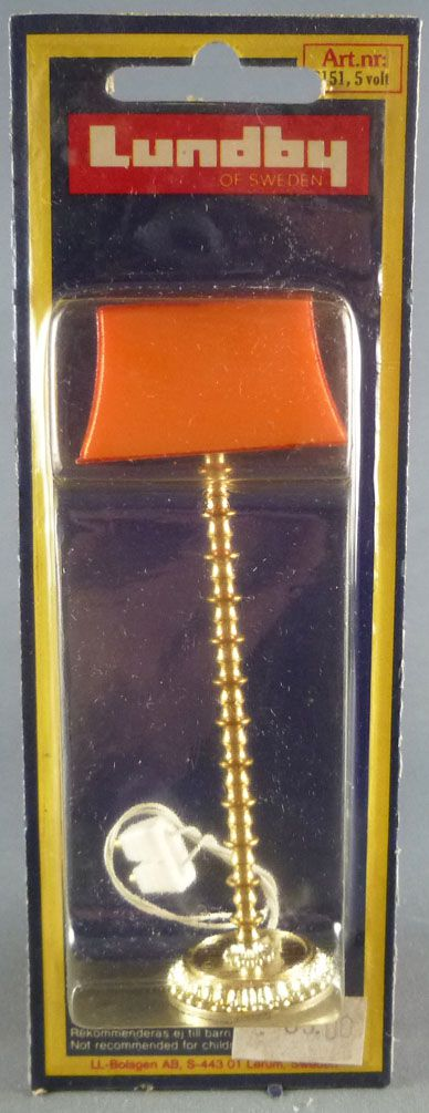 Lundby of Sweden # 6151 - Floor Light with orange lampshade Dolls House Furniture Mint on Cerd