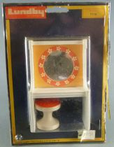 Lundby of Sweden # 7116 - White & Orange Vanity Unit with Miror and Seat Dolls House Furniture Mint on Cerd