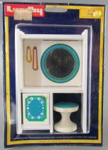 Lundby of Sweden # 7180 - Blue Heaven Sleeping Room Vanity Unit with Miror and Seat Dolls House Furniture Mint on Card