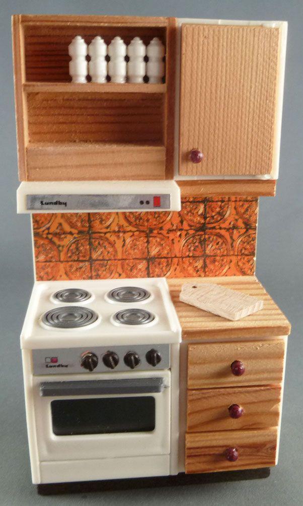 Lundby of Sweden - Meuble Cuisson Cuisine Pin Carreaux orange Maison ...