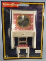 Lundby of Sweden - White & Pink Lightening Vanity Unit with Miror and Chair Dolls House Furniture Mint on Cerd
