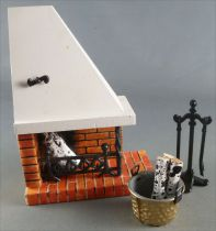 Lundby of Sweden - White Wooden  Fire PLace Chimney & accessories Dolls House Furniture