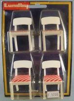 Lundby of Sweden Réf 2511 - 4 Chaises Cuisine Blanches Tissus Rouge bandes Blanches Maison de Poupées Neuf Blister