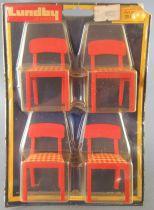 Lundby of Sweden Réf 2511 - Cuisine Continental 4 Chaises Rouge Tissus Carreaux Rouge & Blanc Maison de Poupées Neuf Blister
