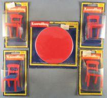 Lundby of Sweden Réf 3125 3116 - Cuisine Rustique Rouge 4 Chaises + Table Ronde Meuble Maison de Poupées Neuf Blister