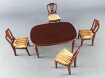 Lundby of Sweden Réf 4350 - Table Salle à Manger Royal Chêne Foncé  Chaises +Maison de Poupées
