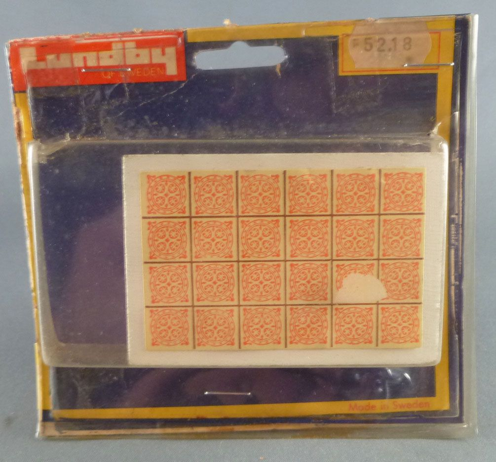 Lundby of Sweden Réf 5218 - Table Basse Blanche Carrelée orange Maison de Poupées Neuf Blister