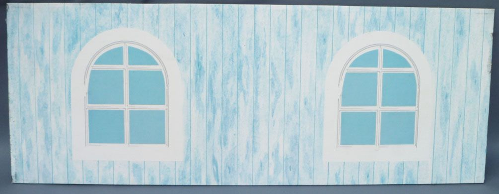 Lundby Petra # 61508 - Play-House - Spare Part Printed Cardboard Attic Child Room Wall (balcony opposite side) 29 cm Doll