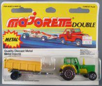 Majorette Double Farm Tractor & Hay Trailer Mint on Card (Ref 369)