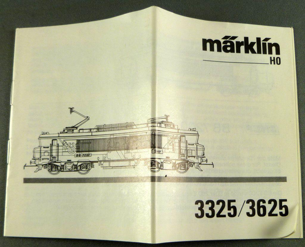Märklin 3325 3326 3625 Ho BB 7200 Manuel Utilisation Notice Nomenclature Pièces Détachées