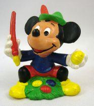 Mickey et ses amis - Figurine PVC Bully 1985 - Mickey peignant des oeufs de Pâques
