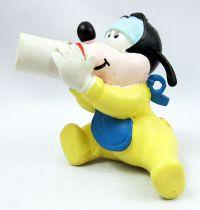 Mickey et ses amis - Figurine PVC M+B Maia Borges 1985 - Disney Babies Bébé Dingo (grenouillère jaune)
