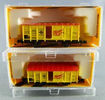 Minitrix 13610 Ech N Db 2 Wagons Couvert Maggi à essieux Portes Coulissantes