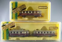 Minitrix 2093 + 2095 N Scale Drg Diesel Train Power Unit VT135 + 2 Trailers VB140 Mint in Box