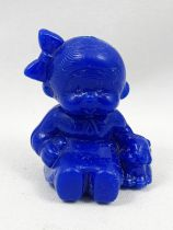 Monchichi - Bonux - Monchichi seating with puppy blue figure