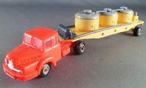 Norev Micro-Miniatures Ho 1/87 Camion Tracteur Unic Rouge & Remorque Containers à Ciment Jaune et Grise