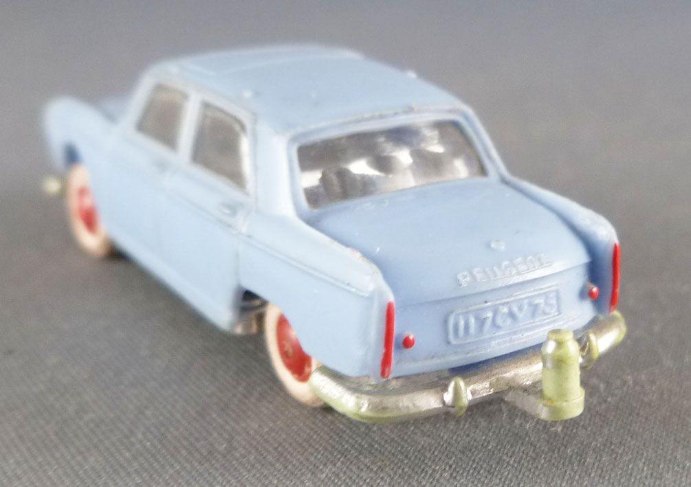 Norev Micro-Miniatures Ho 1/87 Peugeot 404 Bleue Crochet Remorque Pneus Blancs Lestée