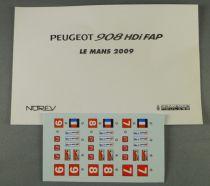Norev Provence Moulage Planche de décalcos Peugeot 908 HDI FAP 1/43