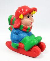 Père-Noël et ses amis - Figurine PVC Schleich - Enfant sur luge