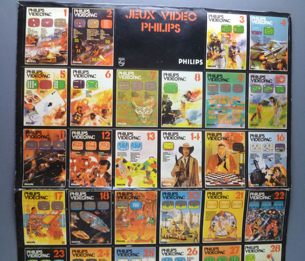 Philips Videopac - Promotional Giant Sticker with 36 Game + Consol Vignettes 42x27cm