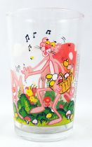 Pink Panther - Amora mustard glass 1983 - Pink picking mushrooms