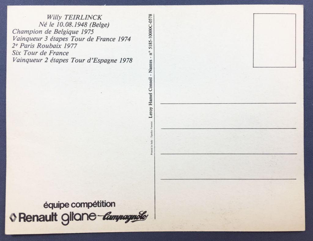 Postal Card - Renault Gitane Team 1978 - Willy Teirlinck