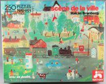 Puzzle 250 pièces - Nathan Réf 551535 - Scènes Naïves de la Ville Hakan Brunberg + Poster Neuf Boite