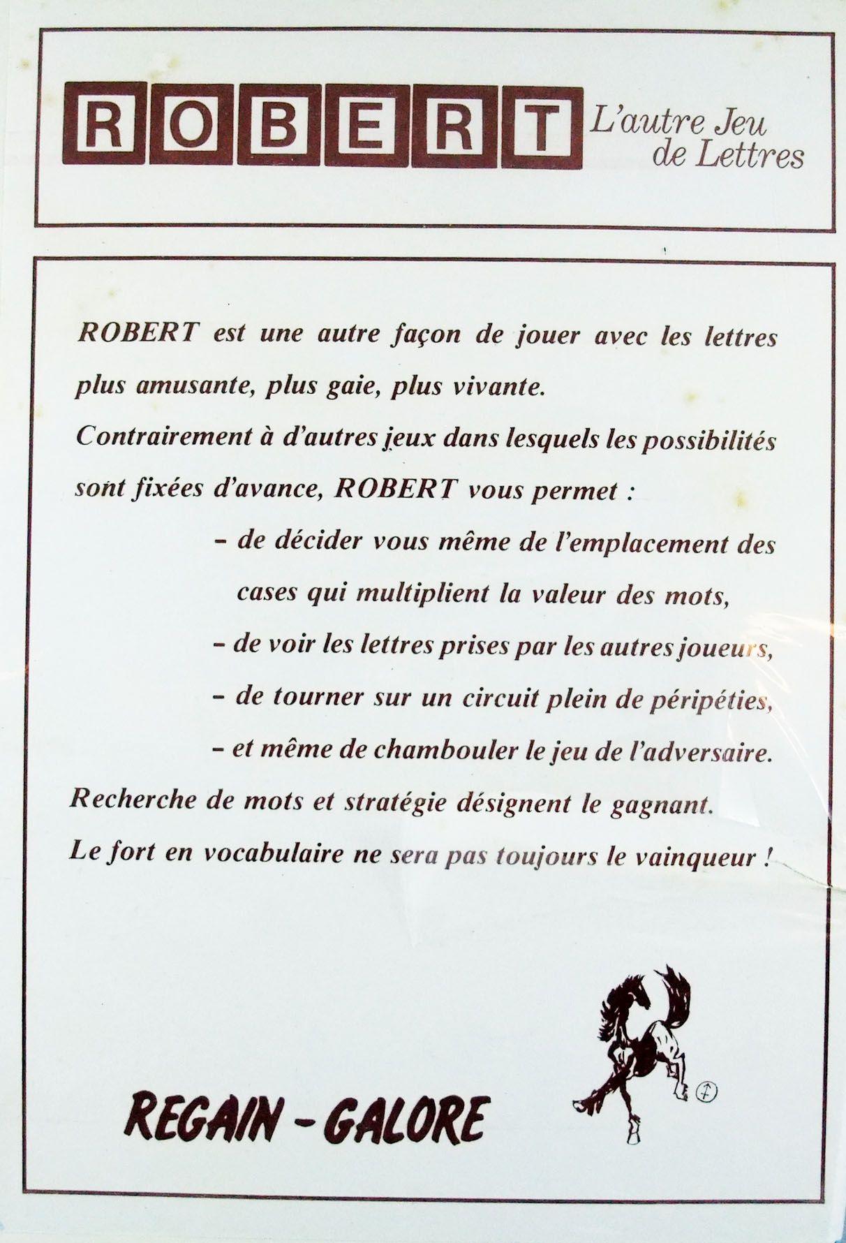 Robert L\'autre Jeu de Lettres - Jeu de société - Regain-Galore 1982
