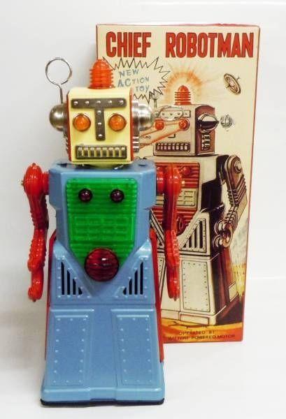Robot - Battery Operated Tin Robot - Chief Robotman (Ha Ha Toys)