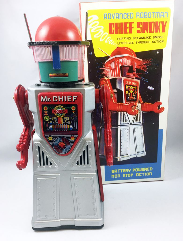 Robot - Battery Operated Tin Robot - Robot Marcheur à Pile en Tôle - Advanced Robotman Chief Smoky (Ha Ha Toys)