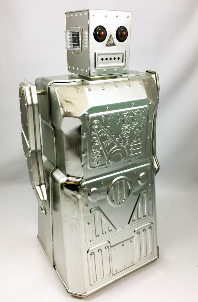 Robot - Battery Operated Tin Robot - Robot One R-1 (Rocket USA) Bare Metal