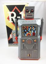 Robot - Battery Operated Tin Robot - Robot One R-1 (Rocket USA) Grey