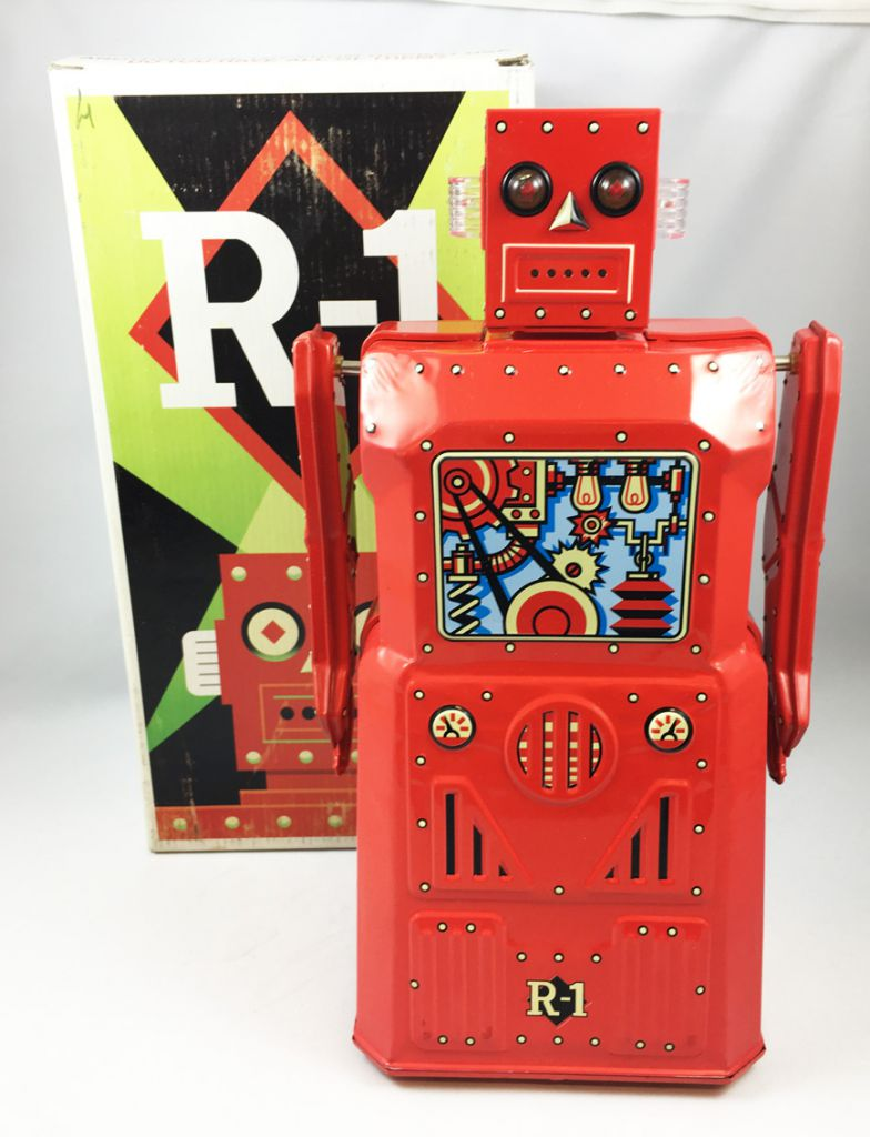 Robot - Battery Operated Tin Robot - Robot One R-1 (Rocket USA) Red