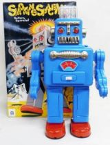 Robot - Battery Operated Tin Robot - Smoking Space Man (Ha Ha Toys) Blue