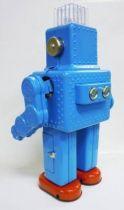 Robot - Battery Operated Tin Robot - Smoking Space Man (Ha Ha Toys) Blue