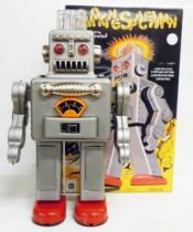 Robot - Battery Operated Tin Robot - Smoking Space Man (Ha Ha Toys) grey