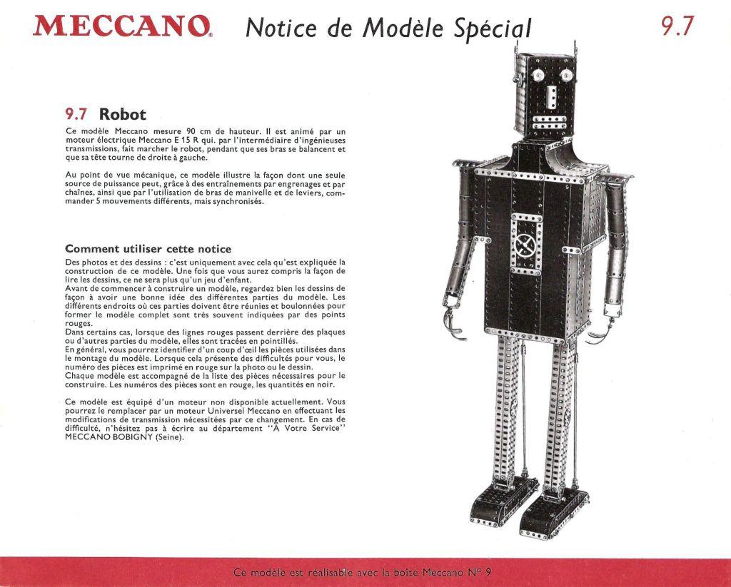 Robot - Meccano Boite n°9 1962 - Robot 90cm mécanique (Meccano 9.7)