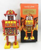 Robot - Mechanical Walking Tin Robot -  Fire Captain (St.John Tin Toy)