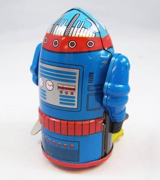 Robot - Mechanical Walking Tin Robot - Cragstan Mr. Atomic (Ha Ha Toy) Blue