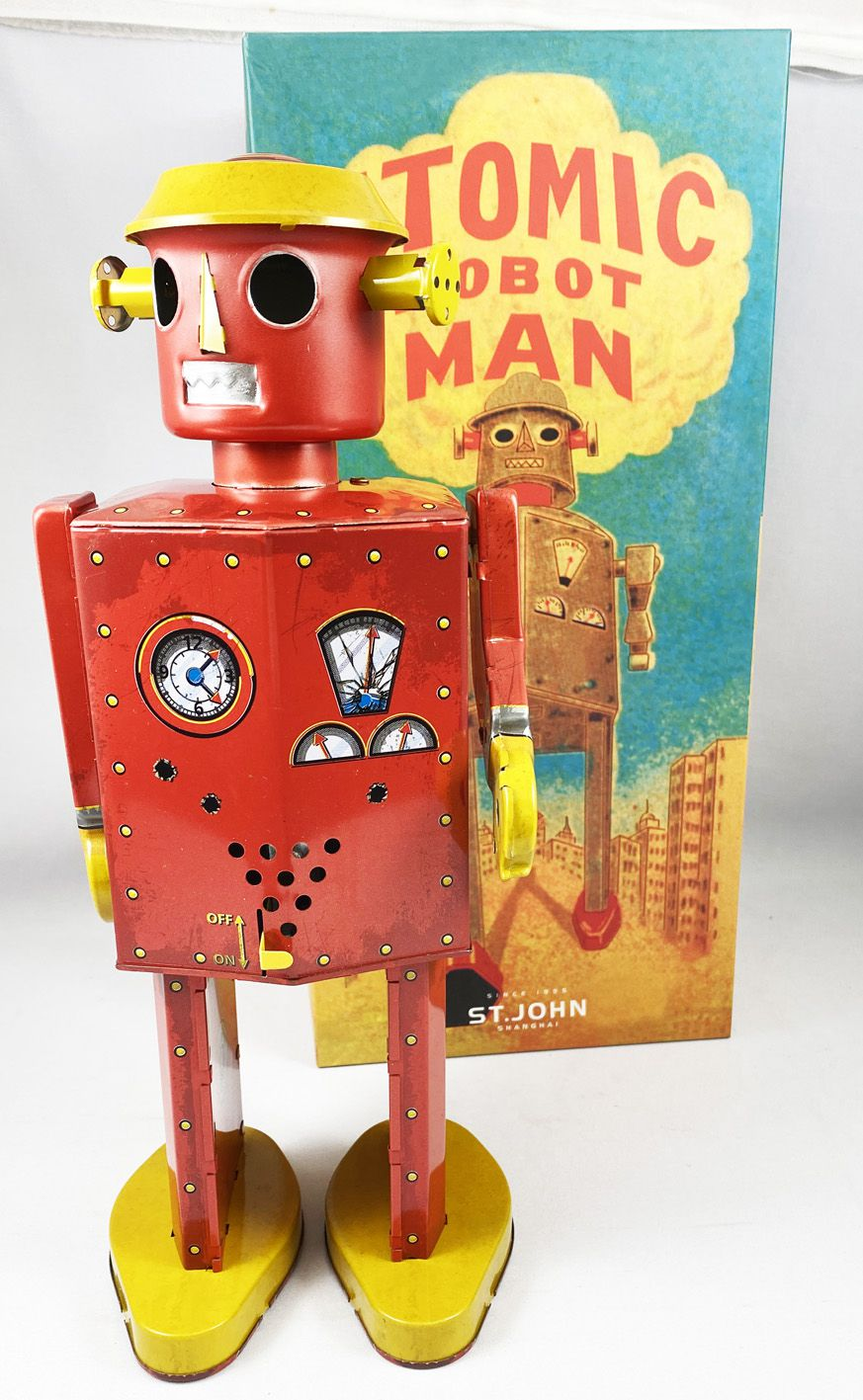 Robot - Mechanical Walking Tin Robot - Giant Atomic Robot Man Red (St.John Tin Toy)