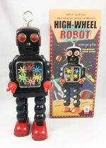 Robot - Mechanical Walking Tin Robot - High-Wheel Robot (sparkling) Black Ha Ha Toy MS436